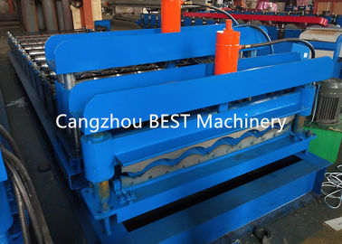 China Galvanized Glaze Steel Roof Tile Roll Forming Machine , Roofing Sheet Machine supplier