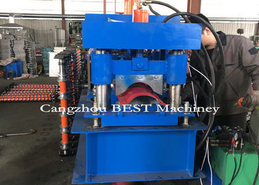 Automatic Roof Ridge Cap Roll Forming Machine , Roll Forming Equipment PLC Control