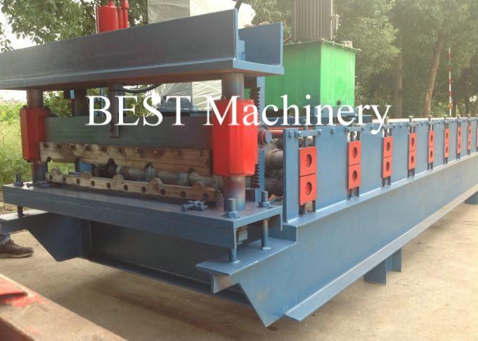 Color PPGI Trapezodial Steel Roof Roll Forming Machine Building , Roofing Roll Formers
